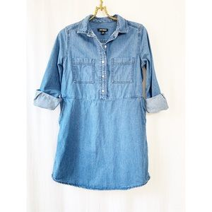 Blue denim button up collared tunic